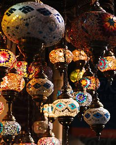 Many beautiful retro oriental highlighted lanterns hanging in darkness and selling in Turkish market Turkish Lanterns, Traditional Lamps, Moroccan Lamp, Handmade Lamps, Design Elements, The Unit, Stock Photos, Vintage Lanterns, Darkness