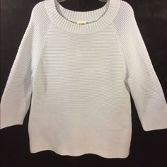 TALBOTS THICK LIGHT BLUE SWEATER Sweater is heavy and warm, very good quality, the size has been cut out of it, but I am sure that is a large or asmall extra-large because of how it fits me. Great condition!  Gently worn! Talbots Sweaters