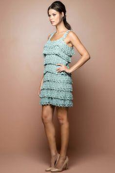 Vestido Crochet Boho Acqua - Vanessa Montoro - vanessamontoro