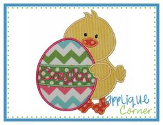INSTANT DOWNLOAD Easter Duck with Egg by AppliqueCornerDesign