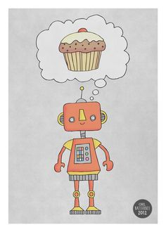 Robots Love Cake  Illustration Print by Carl Batterbee on Etsy