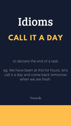 to declare the end of a task idioms vocords english learning 280067670564766215 English Idioms, English Phrases, Learn English Words, English Lessons, French Lessons, Spanish Lessons, Teaching Spanish, Teaching French, English Grammar