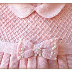 Saída de Maternidade Vestido Casinha de Abelha Laço Rosê