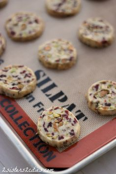 10 Cranberry Pistachio Shortbread - These shortbread cookies were perfect, a light buttery cookies with punches of sweet cranberries and salty pistachios. (from 2 Sisters 2 Cities) #12daysofchristmascookies #christmas #christmascookies