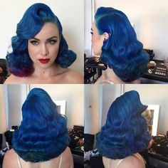 Royal Blue with Hints of Plum Amazing Hair Colour | Retro Vintage Style Pin-Up Hair | Dyed Alternative Fashion