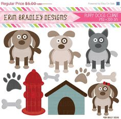 50 OFF SALE Puppy Dog Party Clipart by ErinBradleyDesigns on Etsy, $2.50