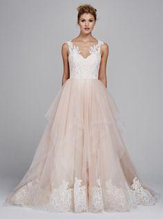 'Azalea' Fall 2017 #KellyFaetanini pink wedding dress with low back and lace v-neck bodice http://www.kellyfaetanini.com