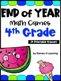 End of the Year Math Games for Fourth Grade: Summer Packet Activities Math Board Games, Math Games, End Of Year Activities, Math Activities, 4th Grade Math, Homeschool Math, Math Skills, Fun Math, Teaching Ideas