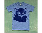 FURST EDITION shirt. heather grey. cat t-shirt.. $28.00, via Etsy.