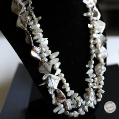 Baroque Freshwater Pearl Necklace Colored pearl bib by PEAFAIR