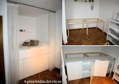 Bed built on kitchen cabinets: