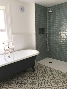 Light bathroom with green metro wall tiles and art deco floor tiles . Light bathroom with green metro wall tiles and art deco floor tiles Bathroom Lighting, Bathroom Interior Design, Country Bathroom, Green Bathroom, Art Deco Bathroom, Small Bathroom, Bathroom Renovations, Green Tile Bathroom, Bathroom Flooring