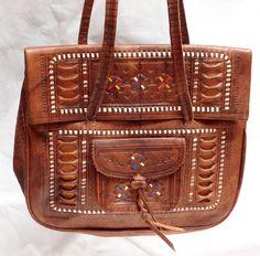 Leder-Handtasche / Beuteltasche mit Prägungen, Echt Leder aus Marokko, NEU