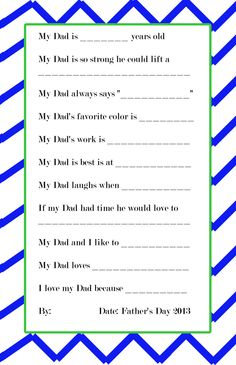 father's day questions preschool