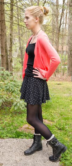 192374ce194778 What the Wroot Wore Wednesday  Skater skirt with combat boots and coral  cardigan Black Tights