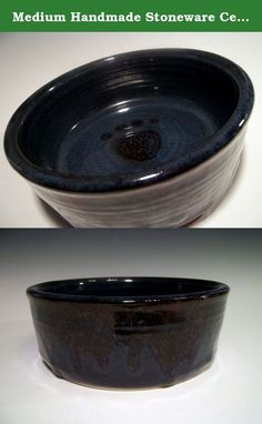 """Medium Handmade Stoneware Ceramic Pottery Food Water Dish for Your Pet Dog ~ Paw Print 16 fl.oz. Midnight Blue and Dark Brown Swirl. Pamper your """"Fur Baby"""" with this stoneware pet dish. Pretty and stylish, yet durable and dishwasher safe. Thrown with thick walls so it is heavy and fido will not tip it over! Holds 16 fl. oz. Made in my Indiana studio."""