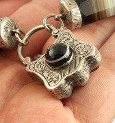 Victorian circa 1890 silver Scottish agate pebble bracelet