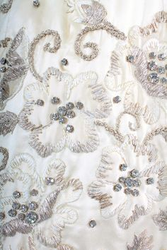 A detail of embroidery on the Pierre Balmain haute couture dress, circa 1954. LOVELY!!!