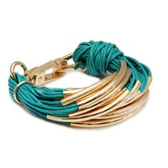 SAACHI String Bracelet in Emerald and Gold