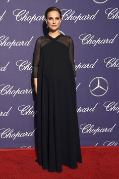 Natalie Portman in Christian Dior dress and Commando Sheer long-sleeve top at the Palm Springs International Film Festival