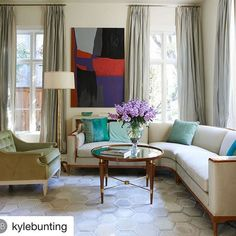 Thank you Kyle—your rugs always add so much glamour to a room! #janshowerscollection #marilynsectional #baxtercoffeetable #caprifloorlamp .  .    #Repost @kylebunting ・・・  This is luxury.  Room by @janshowers and rug by Kyle Bunting.  Doing white right!
