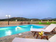 Rethymno villa rental - Guests can relax and enjoy the pool all day long! Private Pool, Crete, Sun Lounger, Swimming Pools, Villa, Relax, Park, Country, Beach