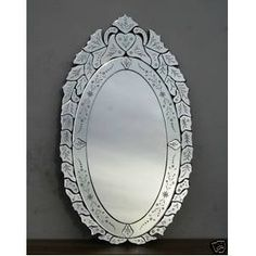 Large oval venetian mirror, hand etched, full length