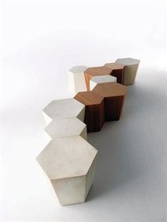 Name: Hexagon  Designer: Steven Holl  Info: series of modules that can be arranged as seats and tables put together or used individually