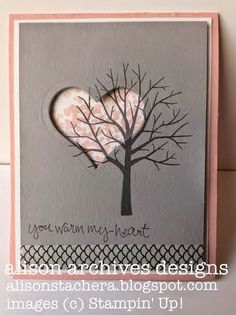 Stampin' Up! ... hand crafted ard by Alison Archives Designs: Sheltering Tree Spotlight Card ... pink, gray and black ... luv how the bare branches of the tree overlap into the negative space heart die cut ... beautiful!