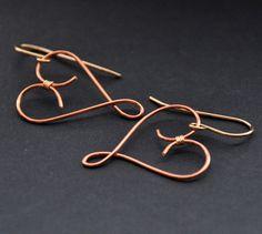 Copper Heart Earrings Gold Fill Hearts Earring by GueGueCreations, $25.00