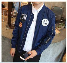 Grandwish Fashion Men Bomber Jacket Hip Hop Patch Designs Slim Fit Pilot Bomber Jacket Coat Men Jackets Plus Size Blue Bomber Jacket, Bomber Coat, Gentleman, Hip Hop, Patch Design, Jacket Style, Slim Fit, Swagg, Mens Fashion