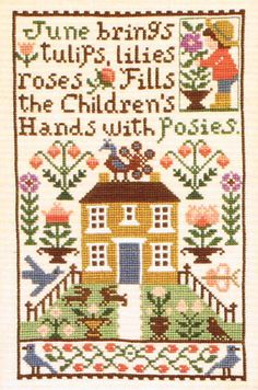 June brings tulips, lilies, roses Fills the children's hands with poses.