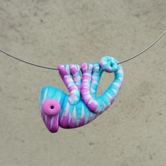 Hand made polymer clay cute PINK-BLUE chameleon by Twiggynkaa