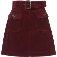ALEXACHUNG A-line corduroy skirt ❤ liked on Polyvore featuring skirts, alexachung, corduroy skirt, burgundy corduroy skirt, a-line skirts and red short skirt