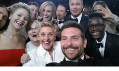 Ellen DeGeneres sets up a starry selfie 2014 Oscars host Ellen DeGeneres broke a world record when she gathered some of Hollywood's finest for a selfie. The snapshot – capturing from left-to-right, Jared Leto, Jennifer Lawrence, Channing Tatum, Meryl Streep, Julia Roberts, Kevin Spacey, Bradley Cooper, Brad Pitt, Lupita Nyong'o, Peter Nyong'o and Angelina Jolie – became the most retweeted message on Twitter, beating the record previously held by President Barack Obama.  Photo: © Twitter