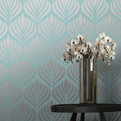 Teal and silver shimmer desire wallpaper for chimney breast