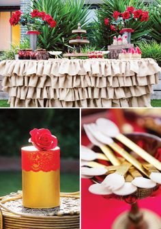 Red Rose & Gold Flamenco Party Theme