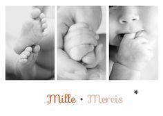 Triptyque de photos en noir et blanc très chic sur cette carte de remerciements de naissance :http://www.lips.fr/impression/carte-remerciement-naissance/format-148-x-105-2p-modele.html?modele_id=496 #remerciementsnaissance #lips