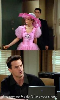 "Oh yes you do Chandler, you took her inflatable sheep from her Halloween costume to use as ""pillows"""