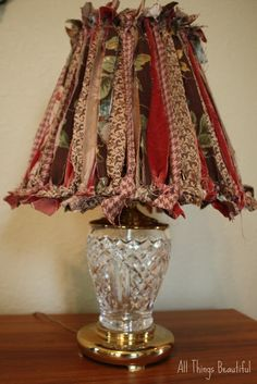 Shabby {Fabric Strip} Lampshade Makeover DIY