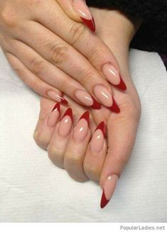 Soft neutral nails with red tips. Smart look pointy nails #nails #neutral #Redtips #igdaily #pinterest #follow4like #like4like #follow