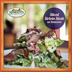 Sliced Sirloin Steak on Romaine Salad - yum!