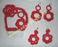 Conjunto de peineta y pendientes para flamenca. Crochet outfit for Spanish flamenci dancer.