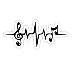 'Music Pulse Heartbeat Notes Clef Frequency Wave Sound Festival ' Sticker by Anne Mathiasz Music Treble Clef Pulse Heartbeat, Notes Music Tattoo Designs, Music Tattoos, Body Art Tattoos, Cool Tattoos, Music Symbol Tattoo, Tatoos, Love Music Tattoo, Music Tattoo Sleeves, Faith Tattoos