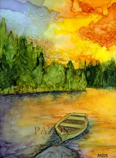 Boat at Sunset by Maria Pazos Alcohol Inks