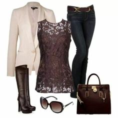 I like this look. The lace blouse under teh blazer, dressed down a bit with jeans. Not a fan of the high heel boots and the square bag.