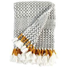 Rivet Modern Boho Hand Woven Stripe Fringe Throw Blanket in Charcoal, Gray, Cream and Mustard. Dream Blanket, Boho Throw Blanket, Cheap Throw Blankets, Woven Blankets, Meme Design, Manta Crochet, Handmade Home, My New Room, Textile Art