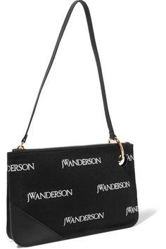 JW Anderson   Leather-trimmed embroidered canvas shoulder bag   NET-A-PORTER.COM