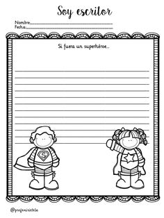 Writing Paper, Writing Prompts, Doodle People, Spanish Teaching Resources, 1st Grade Writing, Kindergarten Games, I Am A Writer, Dance Lessons, Home Schooling