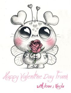 Mars - Happy Valentine's Day to all of you Lovebugs out there! Art Drawings Sketches, Cartoon Drawings, Easy Drawings, Animal Drawings, Cartoon Art, Sketch Art, Cartoon Monsters, Doodle Monster, Monster Drawing